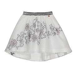 Angel and Rocket - Girls' white floral print mesh skirt