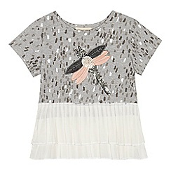 Angel and Rocket - 'Girls' grey sequinned dragonfly applique short sleeve top