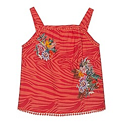 Angel and Rocket - 'Girls' pink zebra floral print cami top
