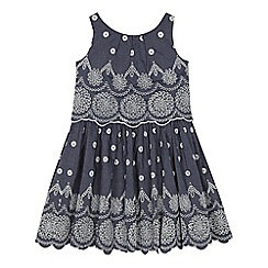 Angel and Rocket - 'Girls' blue chambray Broderie Anglaise dress