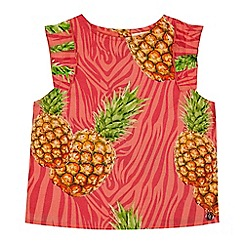 Angel and Rocket - Girls' pink pineapple print top