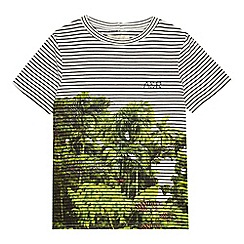 Angel and Rocket - Boys' white and green striped jungle print t-shirt