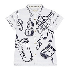 Angel and Rocket - 'Boys' white music print short sleeve shirt