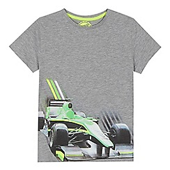 bluezoo - Boys' grey racing car print t-shirt