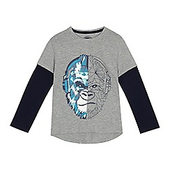 bluezoo - Boys' grey gorilla print mock sleeve top