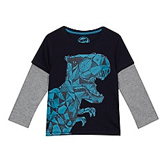 bluezoo - Boys' navy dinosaur print mock sleeve t-shirt
