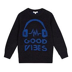 bluezoo - Boys' dark grey 'Good Vibes' knit jumper