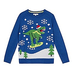 bluezoo - Boys' blue dinosaur light up Christmas jumper