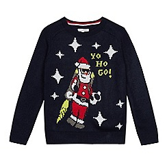 bluezoo - Kids' navy 'Father Christmas' light up jumper
