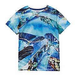 bluezoo - 'Boys' blue skateboard print t-shirt