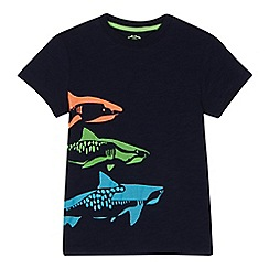 bluezoo - Boys' navy shark print t-shirt