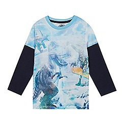 bluezoo - Boys' snowboarding dinosaur print mock top
