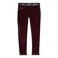J by Jasper Conran - Boys' maroon corduroy slim fit trousers
