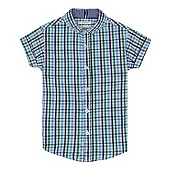 J by Jasper Conran - Boys' green checked print short sleeve shirt