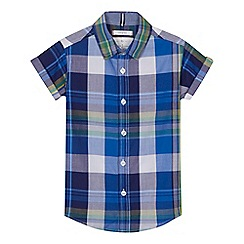 J by Jasper Conran - Boys' blue checked short sleeve shirt