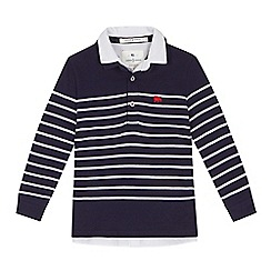 J by Jasper Conran - 'Boys' navy striped popcorn texture mockable long sleeve polo shirt