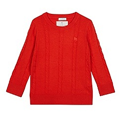 J by Jasper Conran - Boys' Bright Red Cable Knit Jumper
