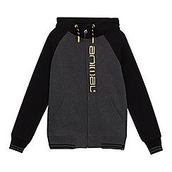 Animal - Boys' dark grey logo embroidered zip through hoodie