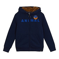 Animal - Boys' navy textured logo print zip through hoodie