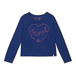 Animal - Girls' blue embroidered logo heart long sleeve T-shirt
