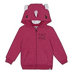 Animal - Girls' dark pink unicorn applique hoodie