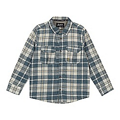 Mantaray - 'Boys' mid blue checked jersey shirt