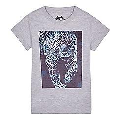bluezoo - 'Boys' grey flocked tiger t-shirt
