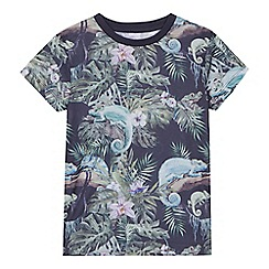 Mantaray - 'Boys' navy tropical chameleon print t-shirt