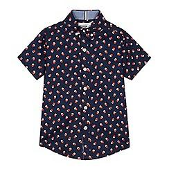J by Jasper Conran - Boys' navy spotted short sleeve shirt