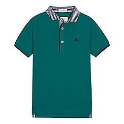 J by Jasper Conran - Boys' green gingham collar polo shirt