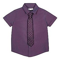 bluezoo - Boys' Purple Tonic Short Sleeve Shirt And Tie Set
