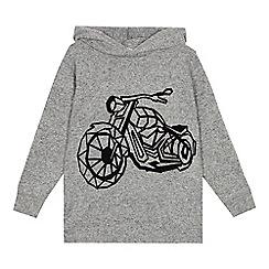 bluezoo - Boys' grey geometric motorbike hoodie