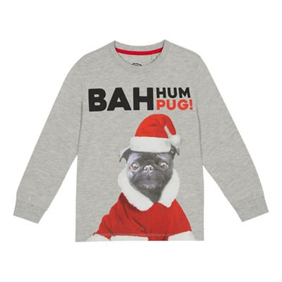 bluezoo Boy s grey  Bah Hum Pug  print T-shirt  08a9f78e7261