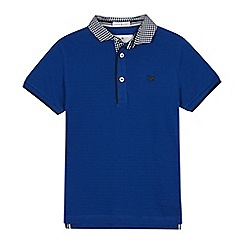 J by Jasper Conran - Boys' blue gingham collar cotton polo shirt