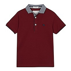 J by Jasper Conran - Boys' wine red gingham collar cotton polo shirt