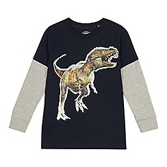 bluezoo - Boys' Navy Sequin Dinosaur T-shirt