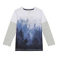 Mantaray - Boys' grey 'Explore the Outdoors' print mock t-shirts