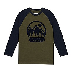 Mantaray - Boys' khaki textured 3D logo slogan top