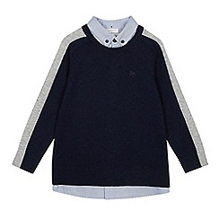 J by Jasper Conran - Boys' navy mock shirt jumper