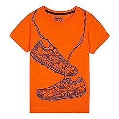 bluezoo - Boys' Orange Geometric Football Boot Print T-Shirt