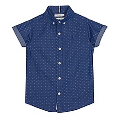 J by Jasper Conran - Boys' Blue Dobby Short Sleeve Shirt