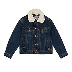 Mantaray - Boys' mid blue borg collar denim jacket