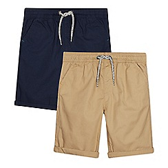 bluezoo - 2 Pack Boys' Navy and Tan Shorts