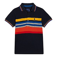 bluezoo - Boys' navy striped cotton polo shirt