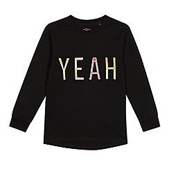 bluezoo - Boys' black embossed 'yeah' top