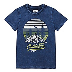 Mantaray - Boys' Navy Mountain Print Cotton T-shirt