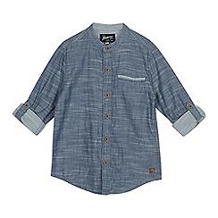 Mantaray - Boys' Blue Chambray Grandad Collar Shirt