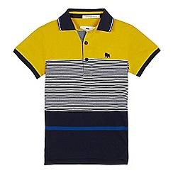 J by Jasper Conran - Boys' Yellow Block Stripe Cotton Polo Shirt