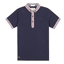 J by Jasper Conran - Designer boy's navy gingham collar polo shirt