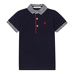 J by Jasper Conran - Boys' navy gingham print trim polo shirt